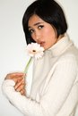 Japanese woman beautiful young in a white knit sweater Royalty Free Stock Images