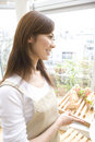 Japanese woman carrying a meal Royalty Free Stock Photo