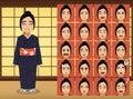 Japanese Woman Cartoon Emotion faces Vector Illustration Royalty Free Stock Photo