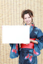 Japanese woman in clothes of kimono Stock Photos