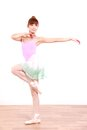 Japanese woman dances ballet concept shot of young womans lifestyle Royalty Free Stock Photos