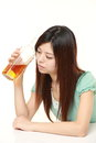 Japanese woman drunk too much Royalty Free Stock Photo
