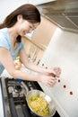 Japanese woman enjoy cooking Royalty Free Stock Photo