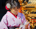 Japanese woman with kimono dress kyoto japan november women in kyoto japan on november unidentified women up to pay respect to Stock Image