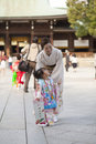 Japanese woman in kimono tokyo japan nov for a celebration of a typical wedding ceremony at meiji jingu shrine tokyo japan on Royalty Free Stock Photos