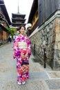 Japanese woman with kimono visit yasaka pagoda Royalty Free Stock Photo