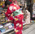 Japanese woman shopping wearing traditional kimono dress on nakamise dori asakusa tokyo Stock Photos