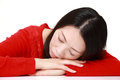 Japanese Woman Sleeping on the Table Royalty Free Stock Photo