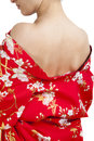 Japanese woman in traditional clothes kimono closeup of back view Stock Photo