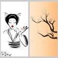 Japanese woman young and sakura illustration Stock Photo