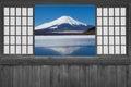 Japanese wood sliding window Royalty Free Stock Photo