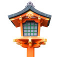 Japanese wooden lantern isolated Royalty Free Stock Photo