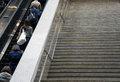 Japanese workers go up the stairs. Royalty Free Stock Photo