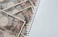 Japanese yen background on white Royalty Free Stock Photo