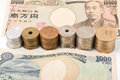 Japanese yen banknotes and coins. finance concept. Royalty Free Stock Photo