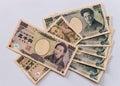Japanese yen banknotes display of Stock Image