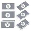Japanese yen banknotes icons