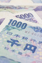 Japanese yen close up banknotes and coin Stock Images