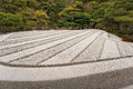 Japanese zen garden in kyoto ginshadan sand pattern representing the sea silver pavillion ginkakuji japan photo taken Stock Photography