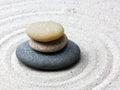 Japanese zen garden meditation stone Royalty Free Stock Photo