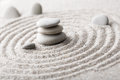 Japanese zen garden meditation stone for concentration and relaxation sand and rock for harmony and balance in pure simplicity - m Royalty Free Stock Photo