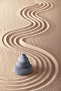 Japanese zen garden sand and stones Royalty Free Stock Photo
