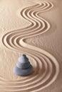 Japanese zen garden sand and stones