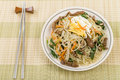 Japchae stir fried korean sweet potato noodles with vegetables mushrooms and beef garnished with slices of fried egg and sesame Royalty Free Stock Photo