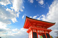 Japnese building in kiyomizu temple at kyoto japan a fine day Royalty Free Stock Photos
