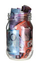 Jar or Australian Banknotes Royalty Free Stock Photo