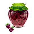 Jar of blackberry jam vector illustration Royalty Free Stock Images