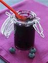 Jar of blueberry jam Stock Image