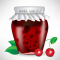 Jar of cherry jam with fruit Royalty Free Stock Photo