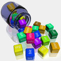Jar Coloured Dice Shows WWW Royalty Free Stock Photos