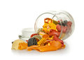 Jar of colourful pasta glass Royalty Free Stock Images