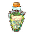 Jar with cooking ingredients pepper garlic paprika curry and seasoning hand drawn style vegetable ingredient vector