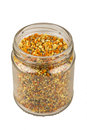 Jar of fresh bee pollen Royalty Free Stock Photo