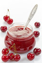 Jar of fruit and cherry jam Royalty Free Stock Photo