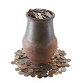 Jar full of coins Royalty Free Stock Photo