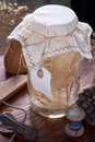 Jar for home decoration made from natural materials Stock Photo