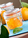 Jar of homemade orange jam closeup Stock Photo