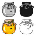 Jar of honey icon in cartoon style isolated on white background. Apairy symbol stock vector illustration