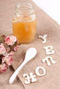 Jar with honey and spoon describing text Royalty Free Stock Photos