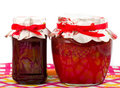 Jar with jam  (cherry,strawberry) Royalty Free Stock Images