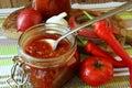Jar of ketchup bank and ripe vegetables Royalty Free Stock Image