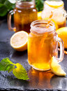 Jar of lemon ice tea Royalty Free Stock Photo