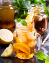 Jar of lemon ice tea Royalty Free Stock Photo