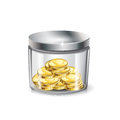 Jar of money golden coins isolated on white Stock Image
