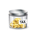 Jar of money tax concept isolated on white Royalty Free Stock Photo