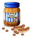 A jar of peanut butter illustration on white background Royalty Free Stock Photo